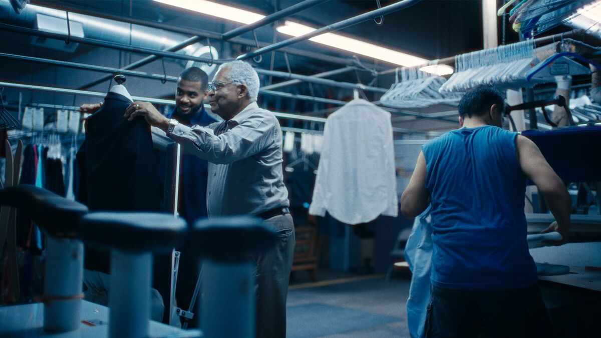 Kris Bowers and Horace Bowers in a dry cleaner in the oscar nominated short documentary A Concerto Is A Conversation