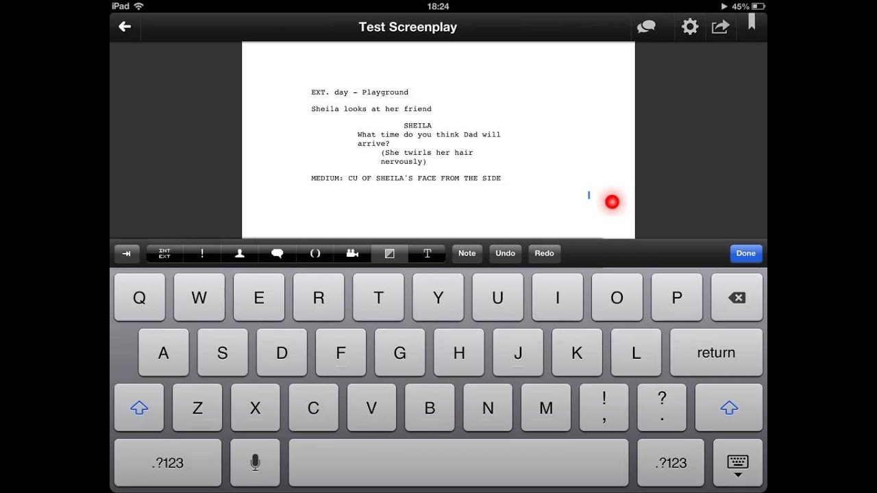 The app Celtx for ipad
