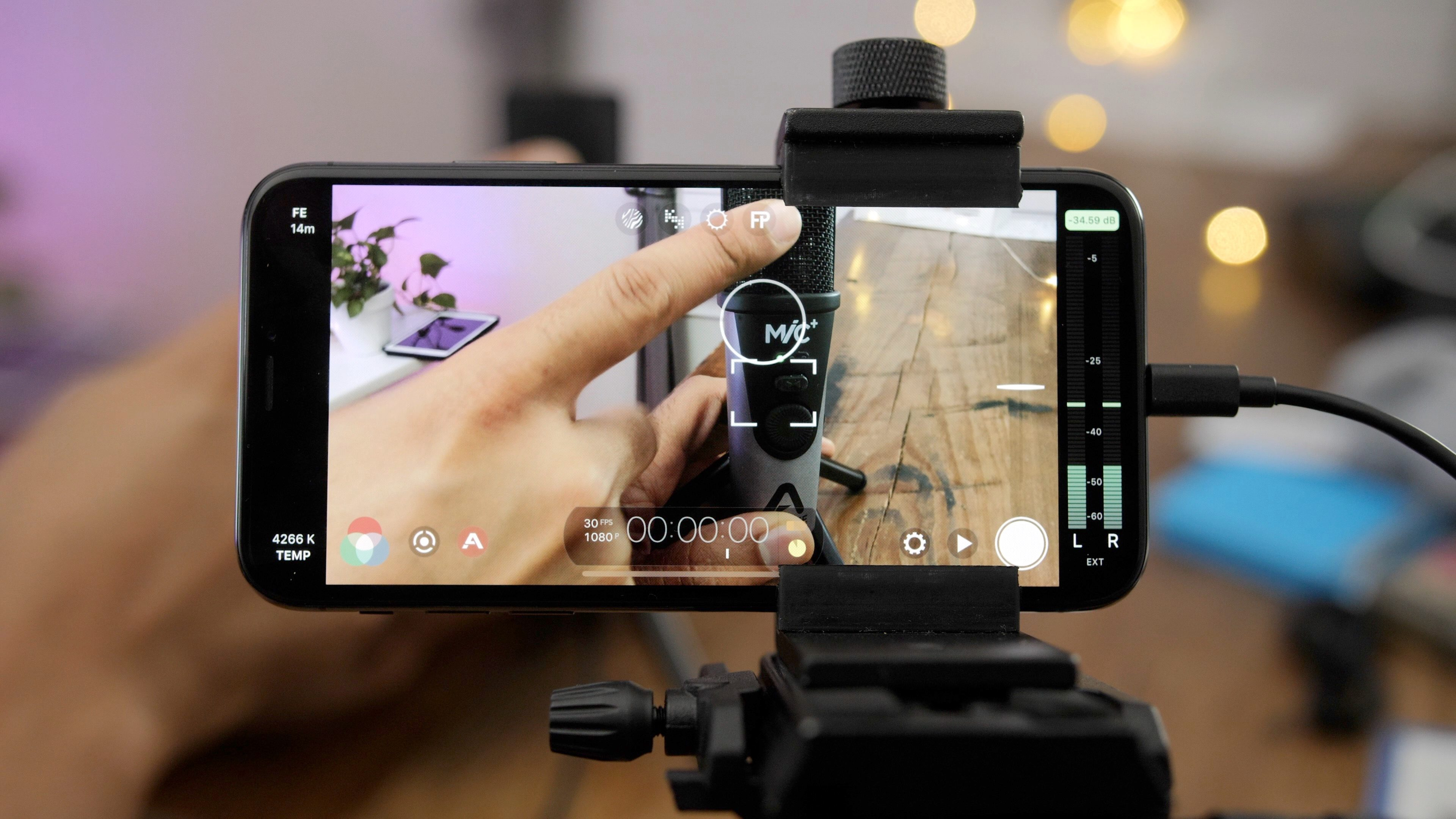A filmmaker shoots with the app Filmicpro