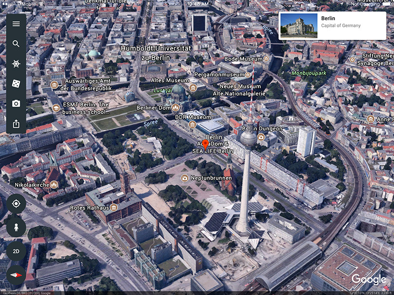 Google Earth app showing a city