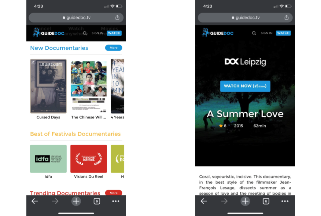 The Guidedoc app for iphone IOS
