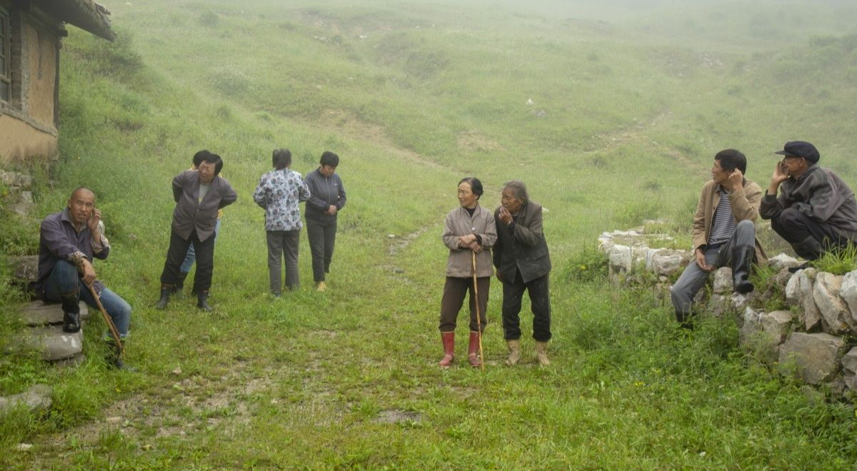 A group of elders in a mountain village in China