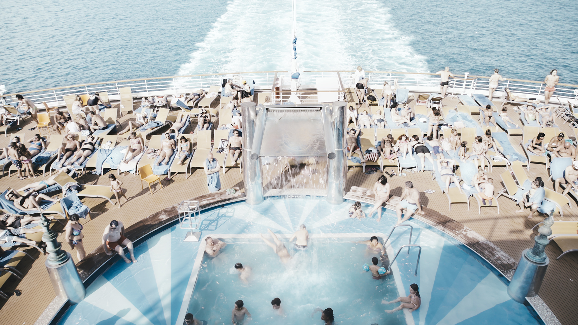 A cruise ship full of tourists in the short film All Inclusive