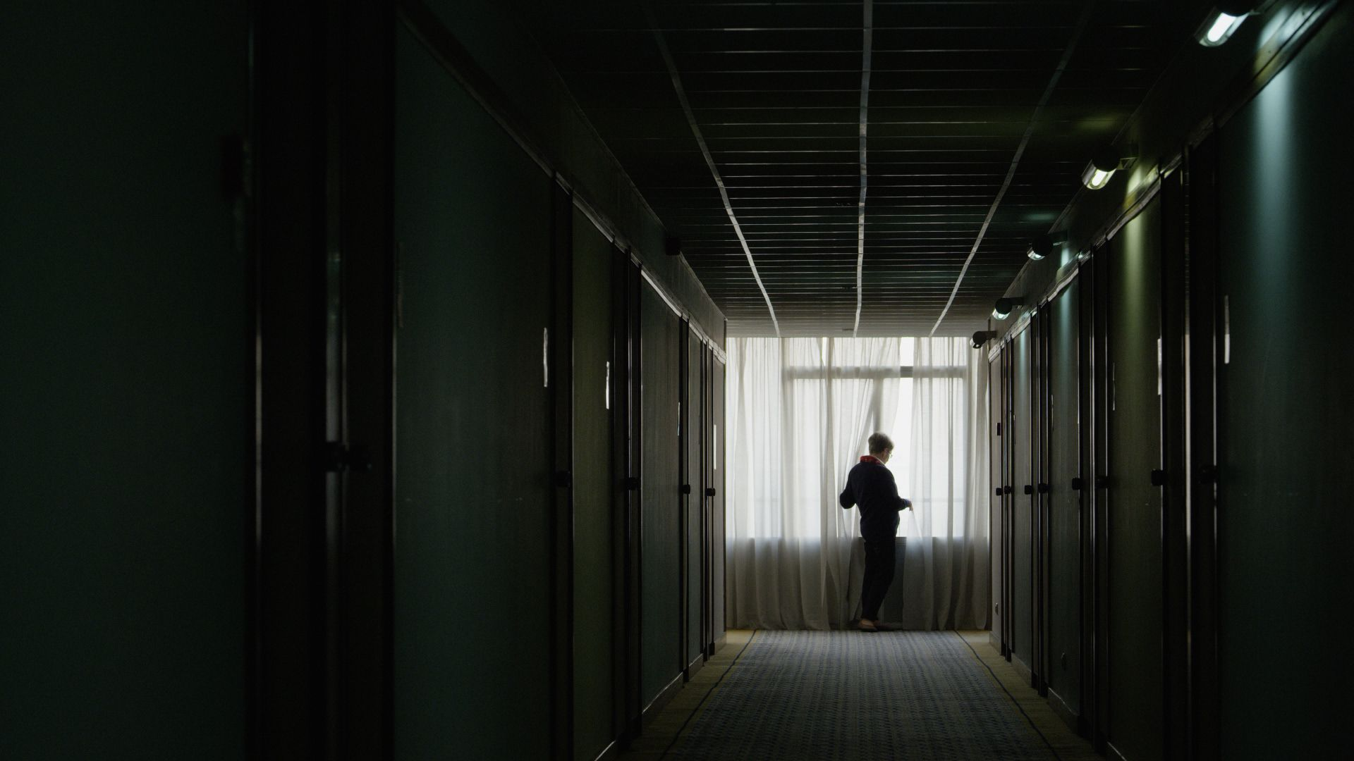 A dark hallway in the Hotel Jugoslavija, the documentary