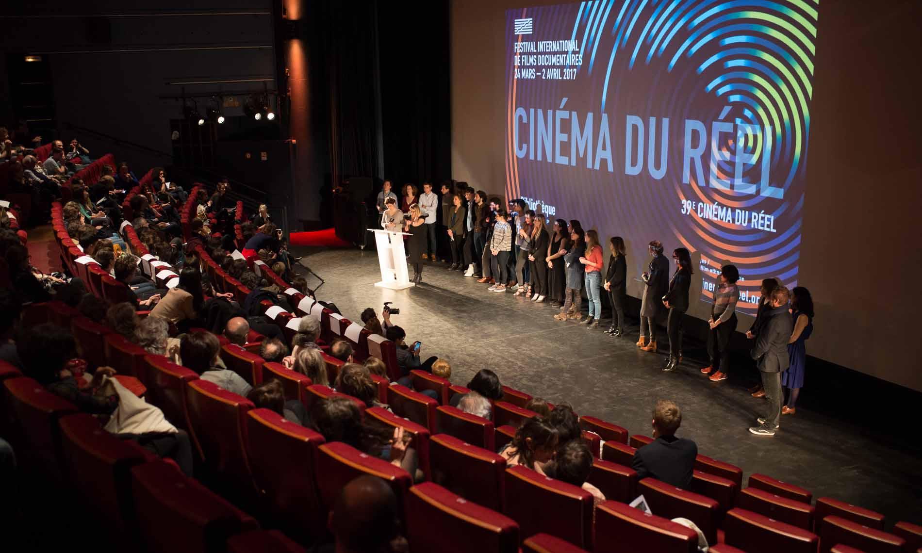 Filmmakers present their film at the Cinema Du Reel Film Festival