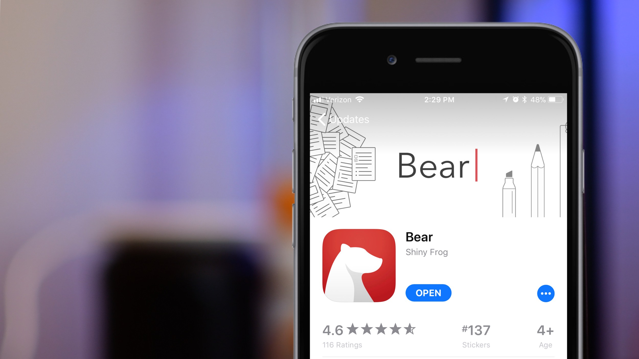The app Bear appears on the screen of an iphone