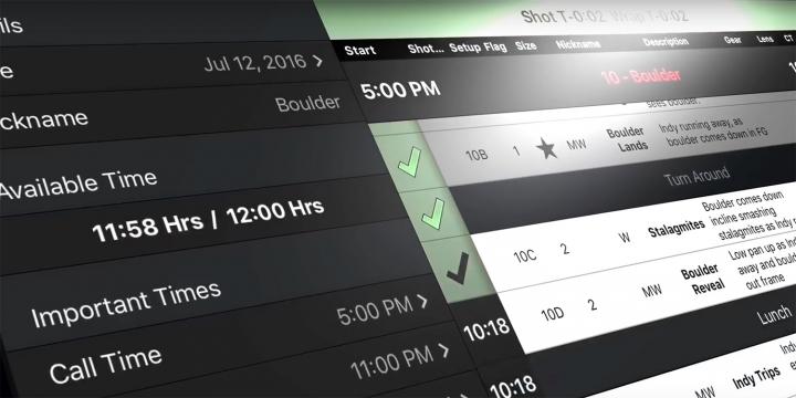 Shotlister app interface