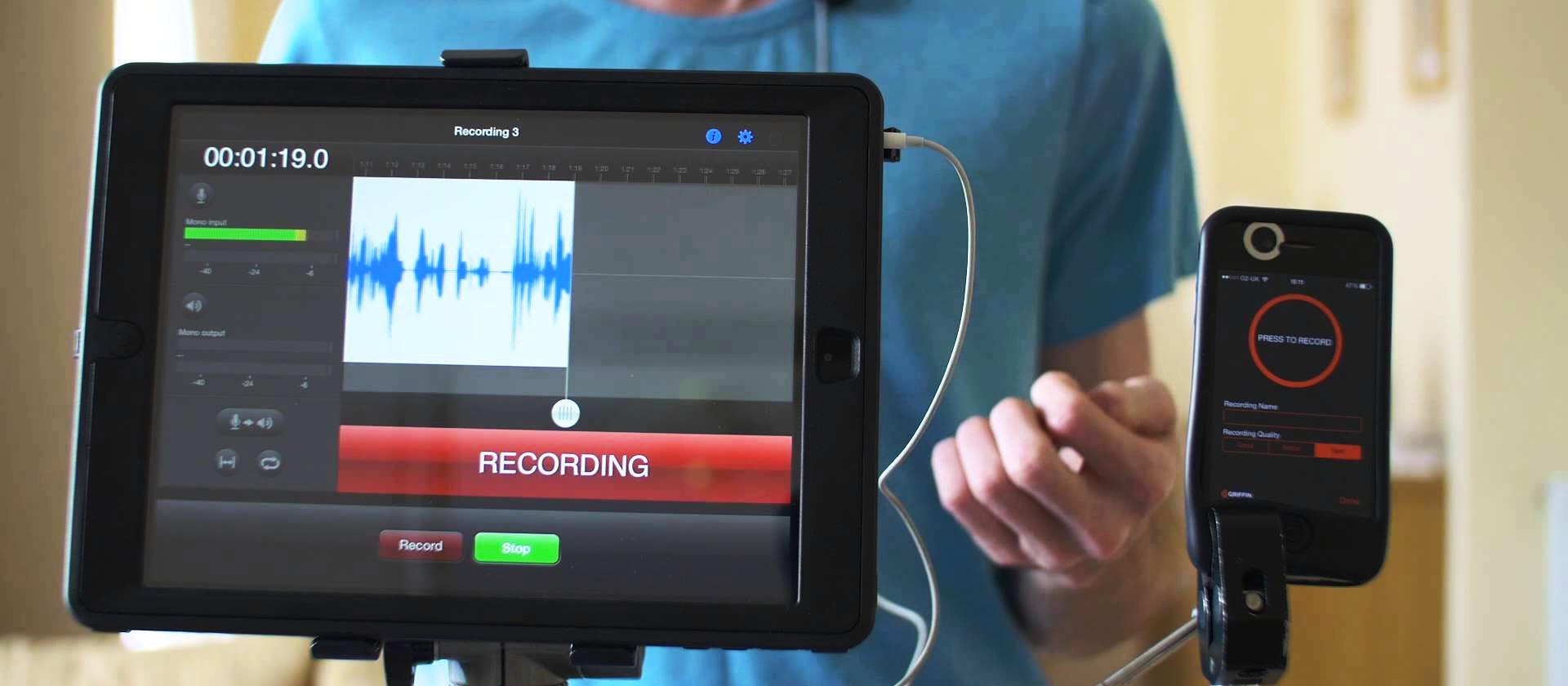 A waveform is shown on an ipad with the app Rode Rec